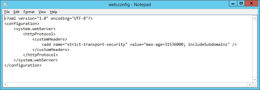 IIS Web.config file