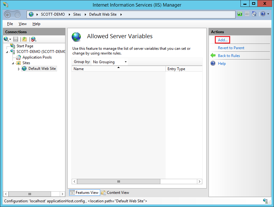 Add new server variable