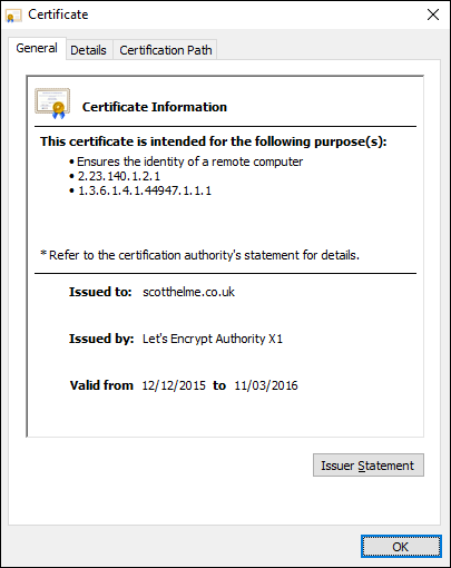 LE certificate in use