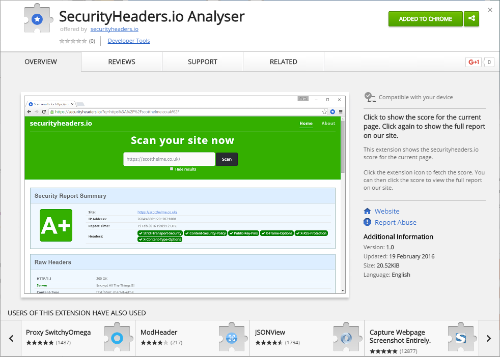 security headers chrome extension