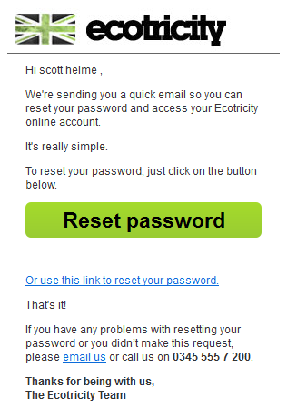 ecotricity password reset email