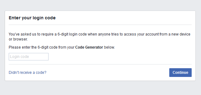 facebook login code