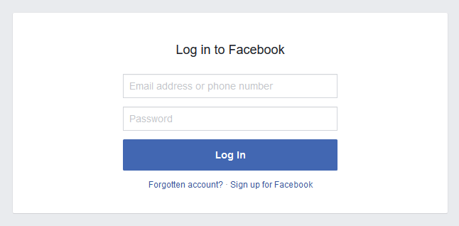 facebook login form