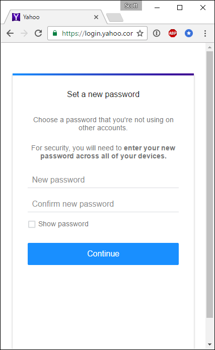yahoo password change