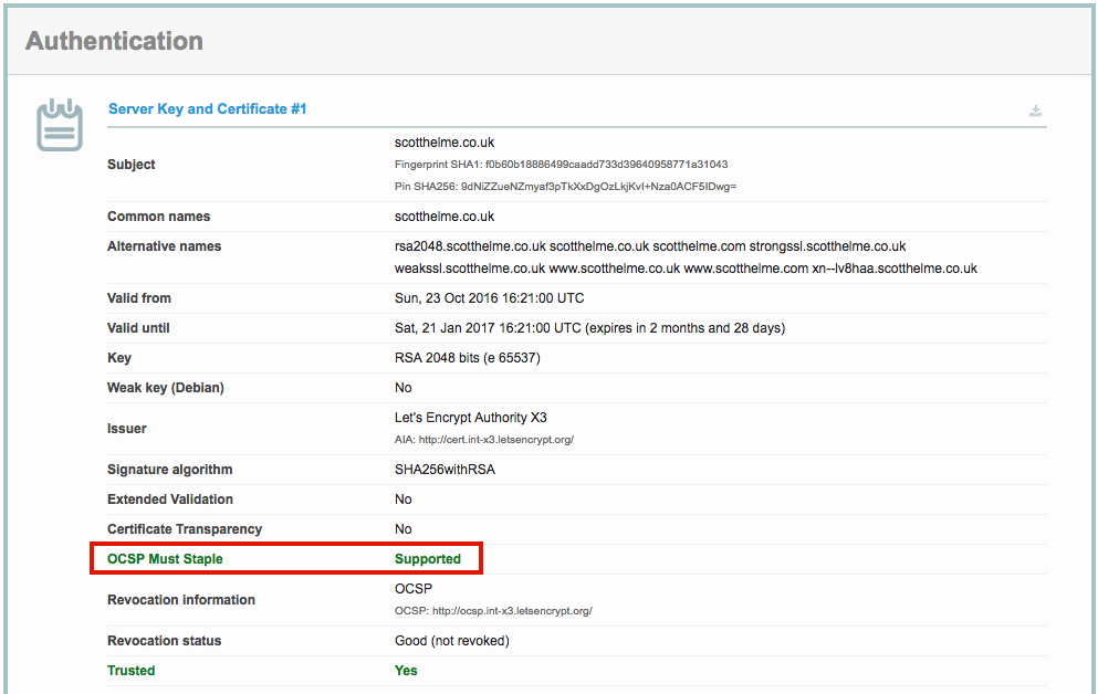 ocsp must-staple flag in SSL Labs