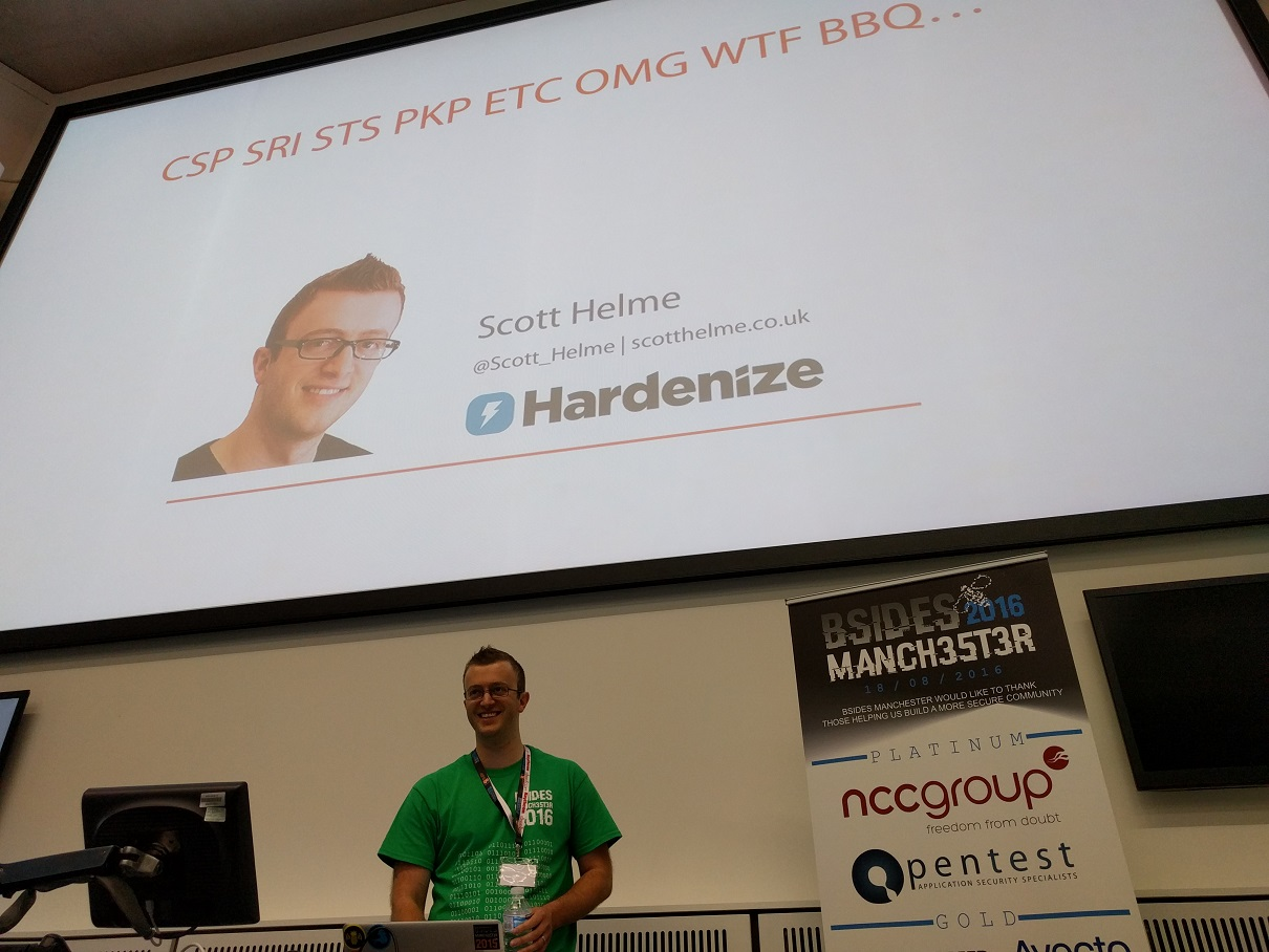on stage at BSides Manchester
