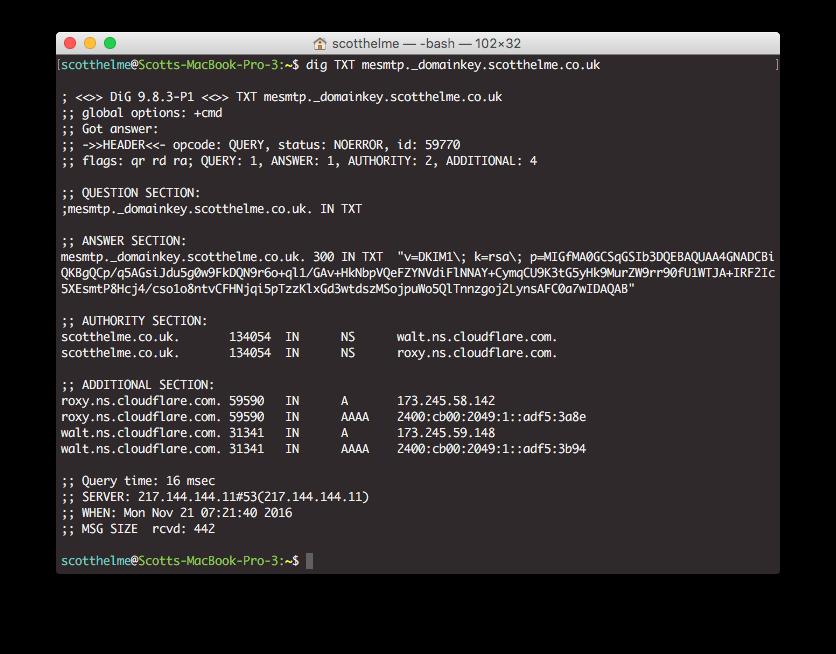 DKIM DNS TXT record