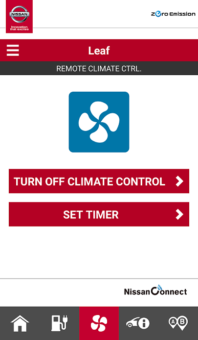 app climate control screen