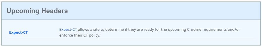 expect-ct message on securityheaders.io