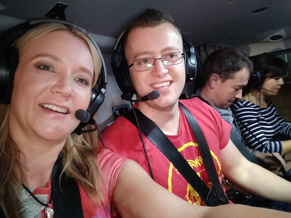 In the helicopter with Kate
