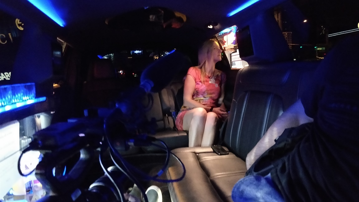 kate being filmed in the limo