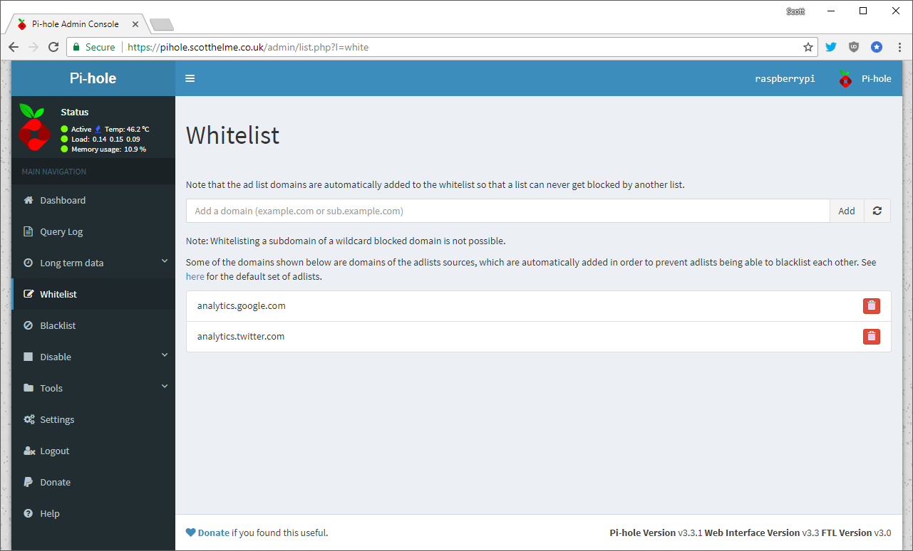 pi-hole-whitelist