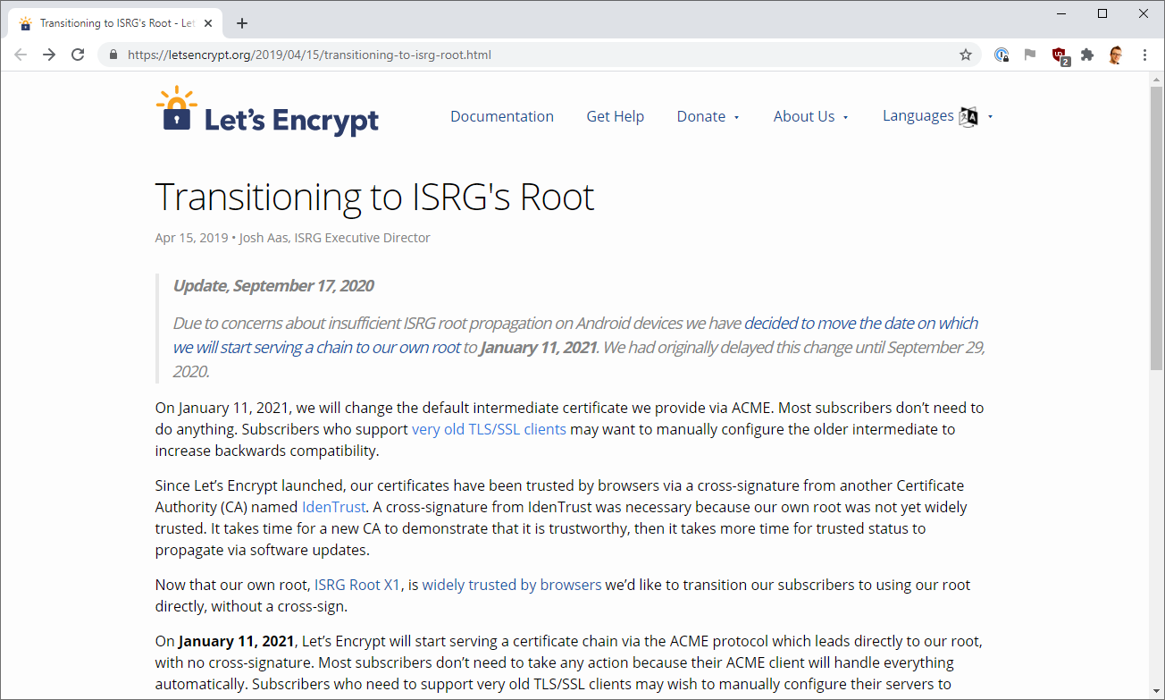 Let's Encrypt postpone the ISRG Root transition